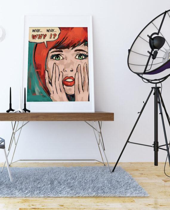 tableau deco salon lichtenstein pop art portrait