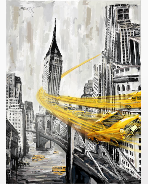 Tableau New York vol au dessus de Manhattan