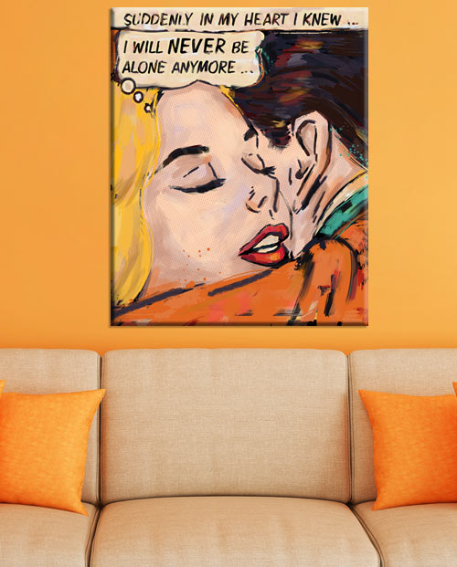 tableau deco salon pop art lichtenstein romance