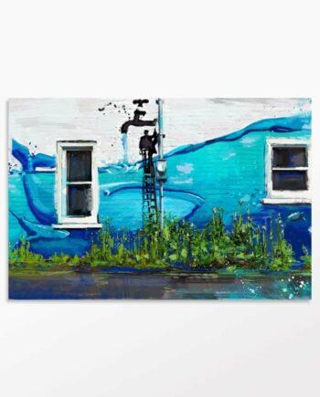tableau urbain mur d'eau pour la décoration murale