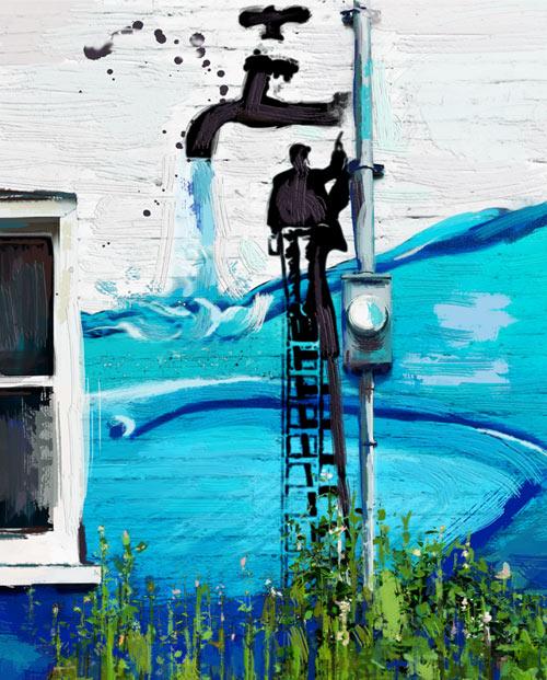 tableau urbain mur d'eau pour la décoration murale zoom