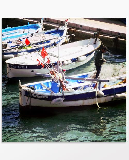 tableau triptyque barques pecheurs marseille