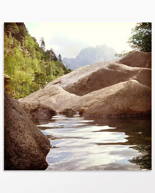 Cadre photo artistique paysage Rivière à débordement