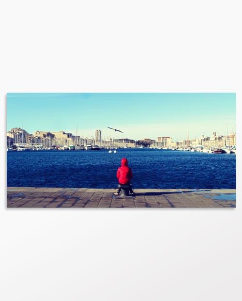 Tableau panoramique couleur Le port de Marseille