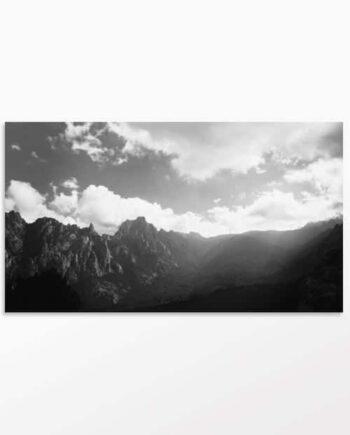 Tableau photo Noir et Blanc Ligne de montagnes Corses