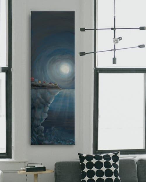 Tableau design vertical pour la décoration de salon La femme mystère