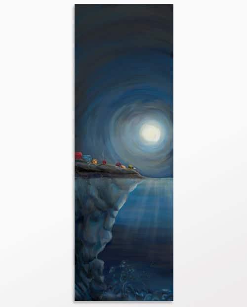 Tableau design vertical bleu La femme mystère