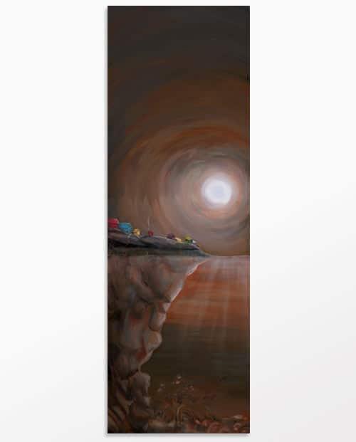 Tableau design vertical sépia La femme mystère