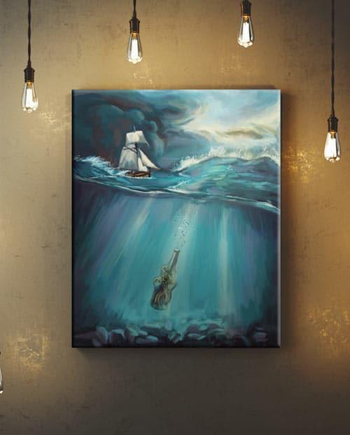 Toile façon peinture surréaliste pour la décoration intérieure