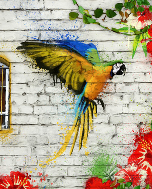 Tableau urbain street art Tropical City
