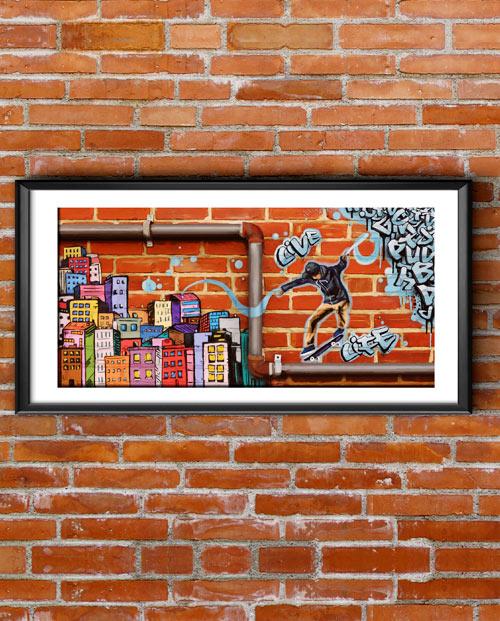 Toile street art style art Multicolor pour la déco de chambre de votre ado