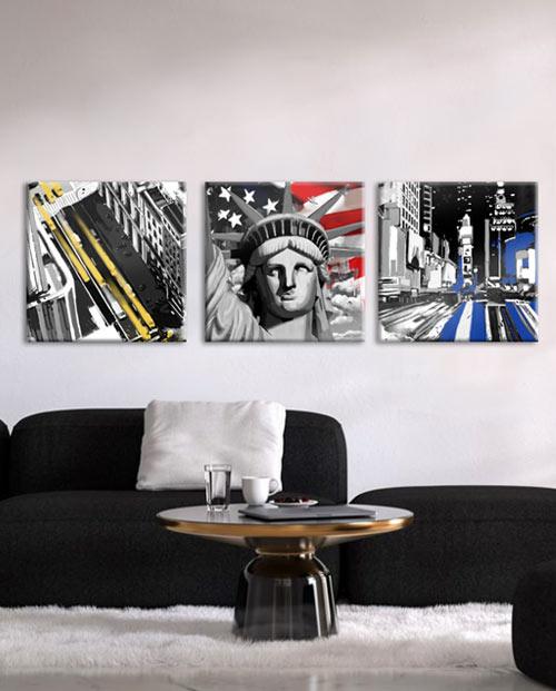 tableau 3 parties New York pour une décoration design