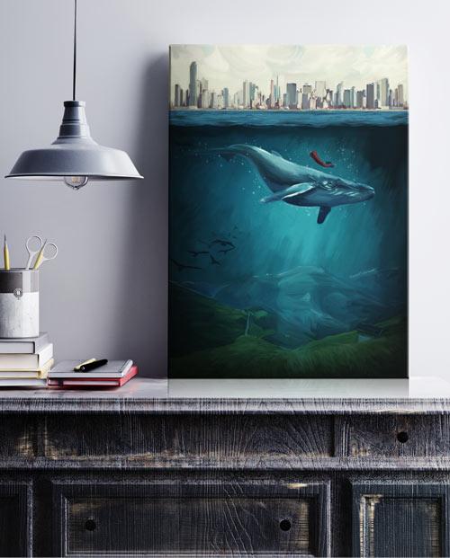tableau mural pour la décoration de salon - la baleine bleue