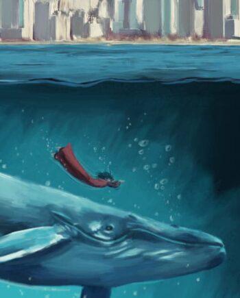 Tableau mural Baleine bleue
