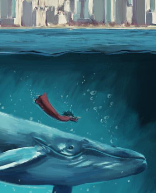tableau mural style peinture numérique - la baleine bleue