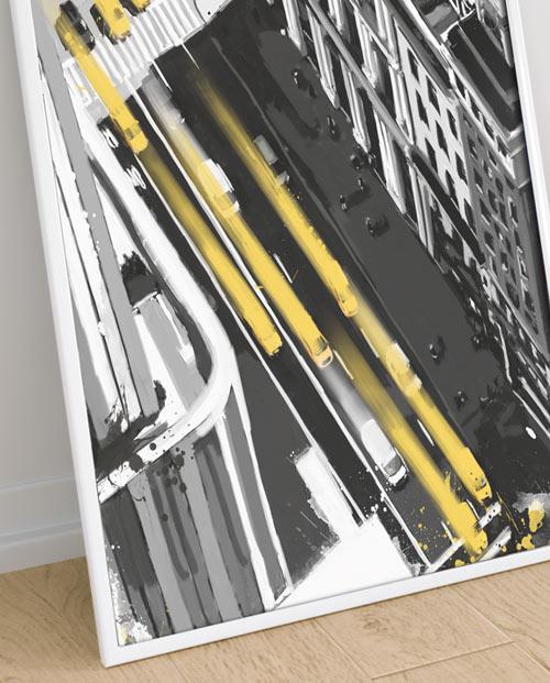 Déco New York avec des taxis jaunes - cadre décoratif pour la maison