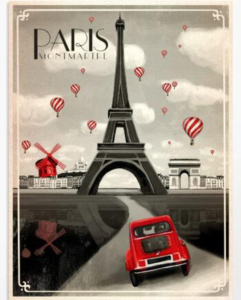 Affiche Paris vintage, un tableau déco noir et blanc de la ville de Paris