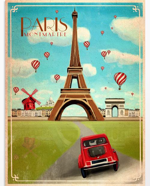 Affiche Paris vintage, un tableau déco couleur de la ville de Paris