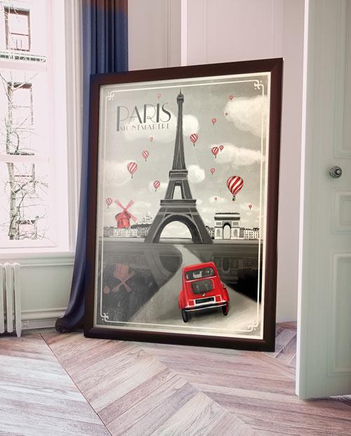Affiche Paris vintage en noir et blanc pour la déco interieure