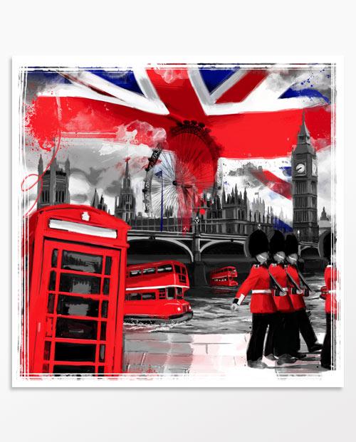Déco londres - Tableau Londres bicolore