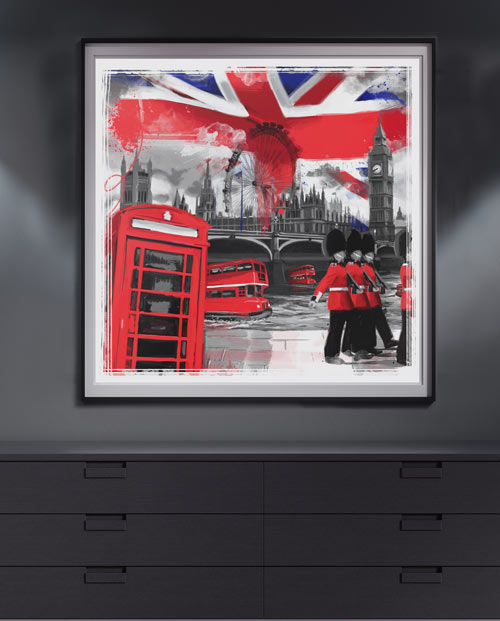 Déco londres - Tableau Londres bicolore pour la décoration intérieure