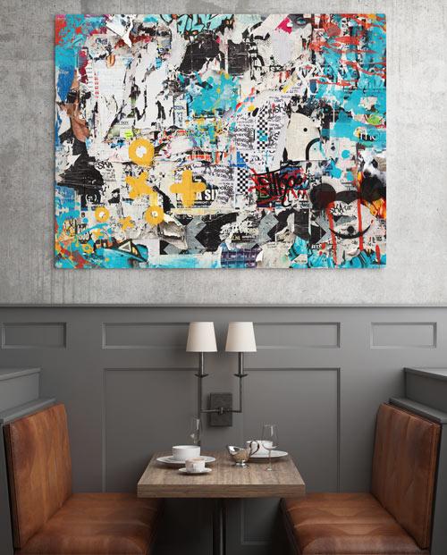 Tableau collage street art parfait pour une décoration moderne