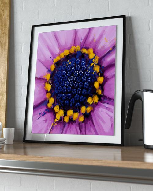 Tableau fleur violette pour la décoration de cuisine