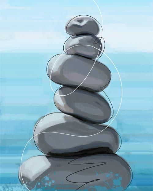 Tableau galets en équilibre