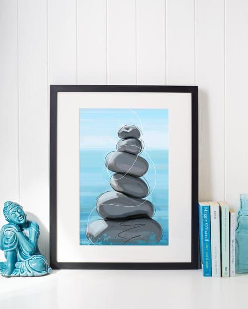 Tableau galets en équilibre pour une déco zen