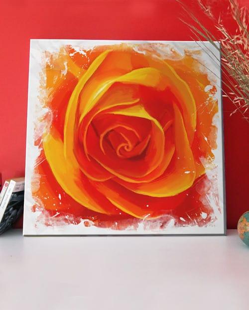 Tableau de rose orangée pour la décoration de salon