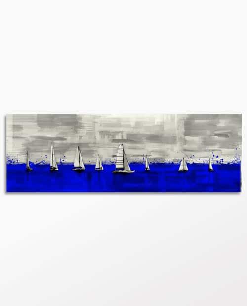 Tableau voiliers de régate en bleu klein