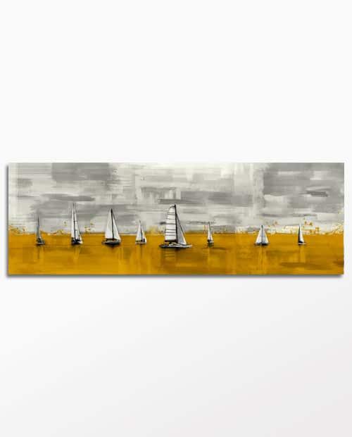 Tableau voiliers de régate en jaune moutarde