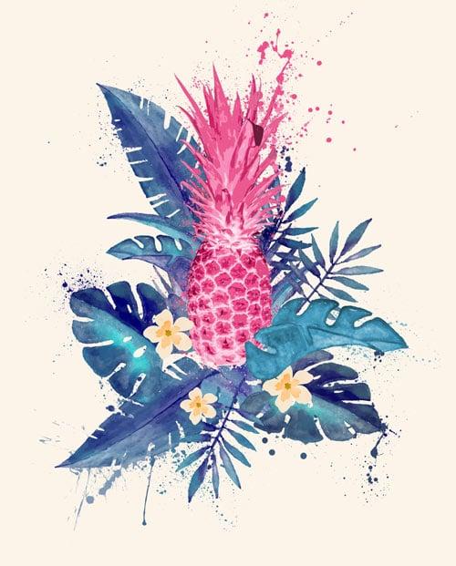 Tableau ananas rose fond blanc cassé