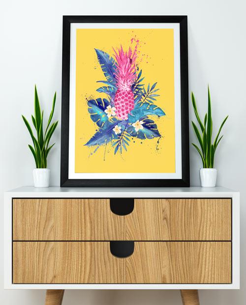 Tableau ananas rose pour une déco exotique dans votre salon