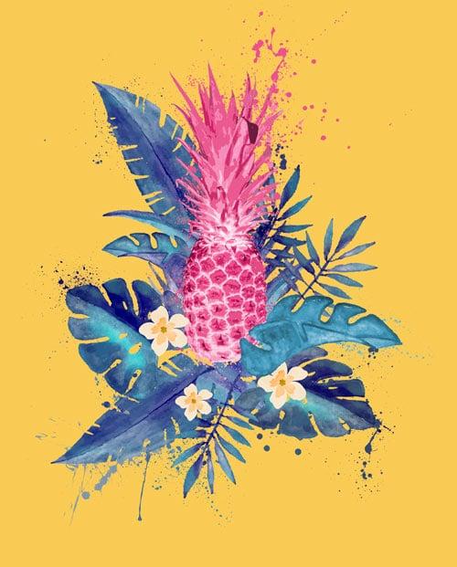 Tableau ananas rose fond jaune