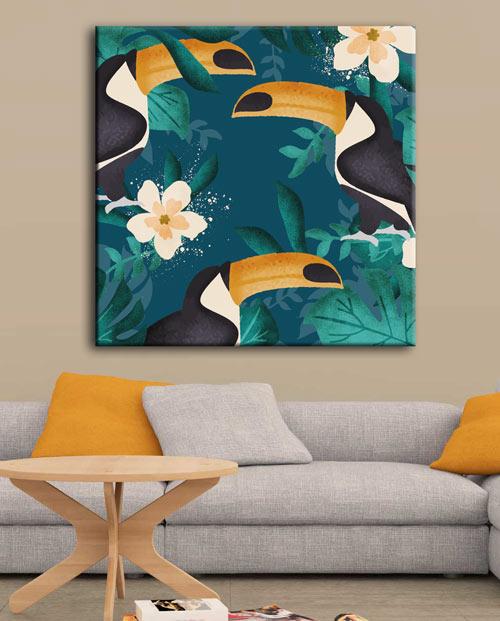 tableau exotique toucans pour la décoration murale