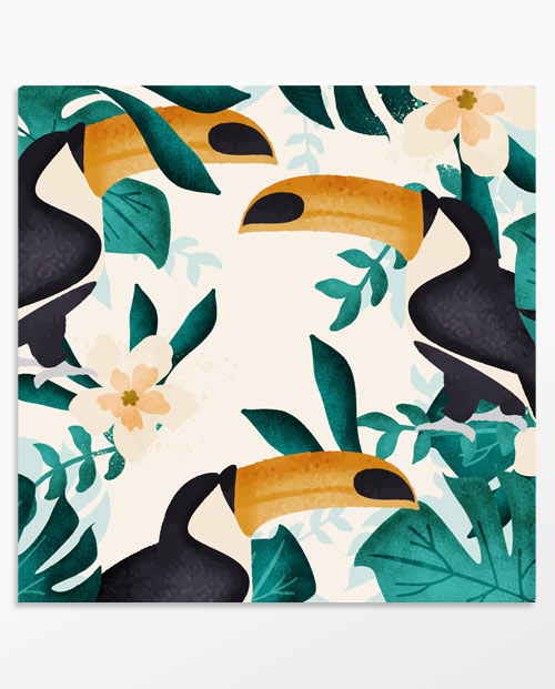 tableau exotique toucans pour la décoration