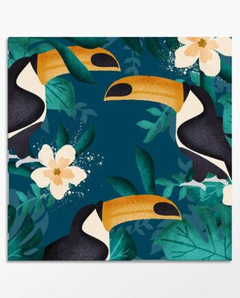 Tableau exotique de toucans