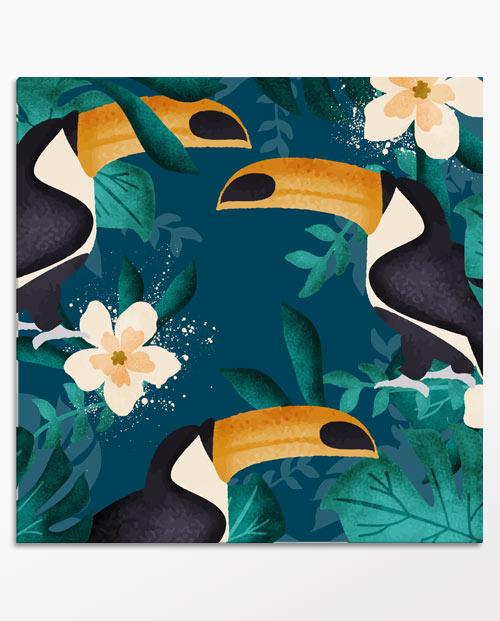 tableau exotique toucans bleu nuit pour la décoration
