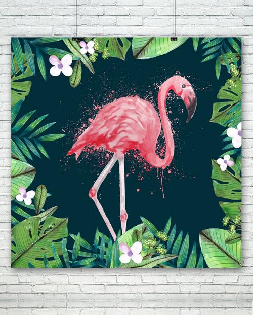 Tableau flamant rose pour une décoration tropicale