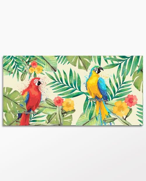 tableau perroquets fond blanc pour une deco jungle