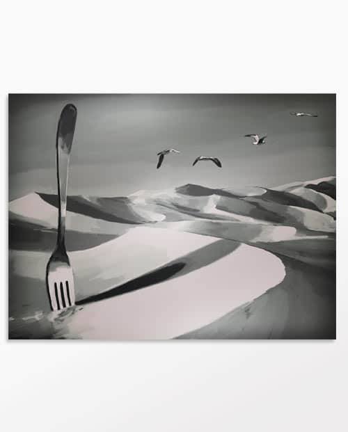 Tableau désert - la Faim, oeuvre surréaliste en noir et blanc