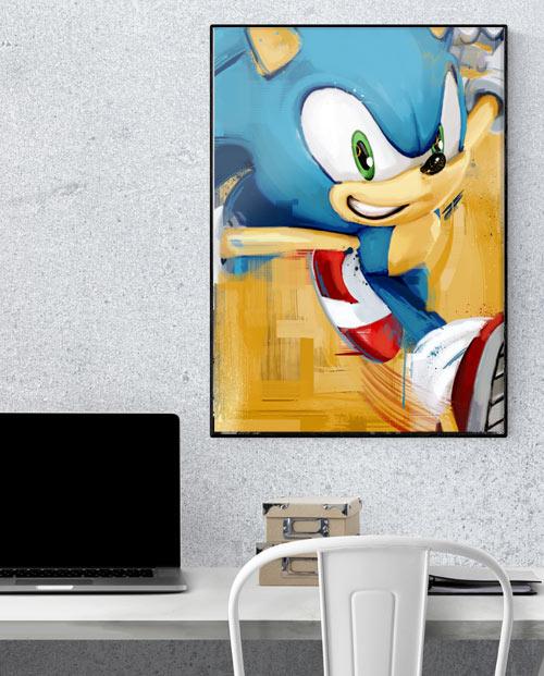 Décoration geek avec un tableau du jeu vidéo Sonic