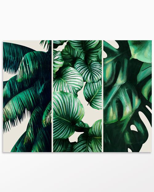 Tableau feuilles tropicales fond écru