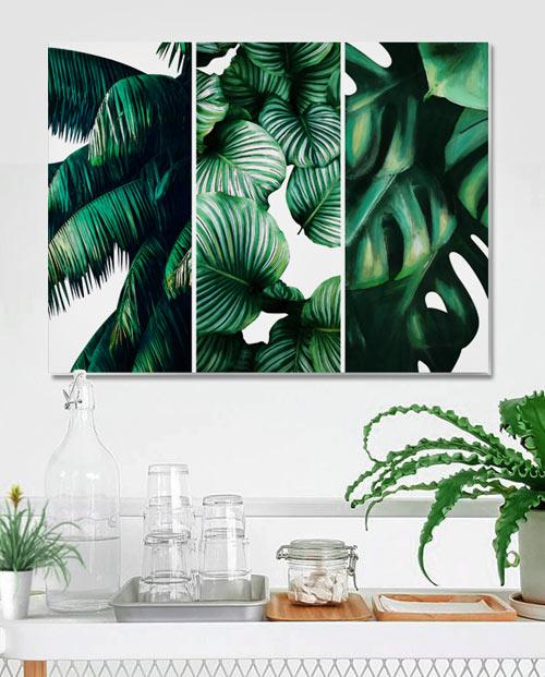 Tableau feuilles tropicales pour une déco jungle authentique