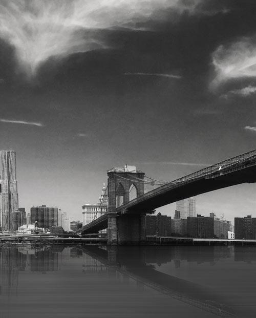 Zoom sur l'affiche New York panoramique en noir et blanc