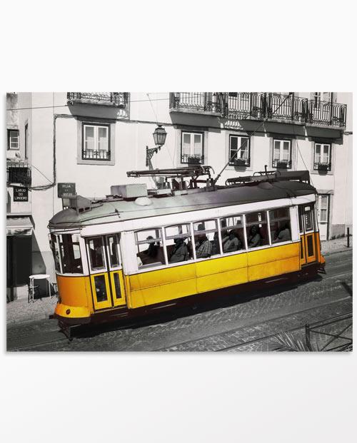 Tableau Tramway Lisbonne jaune - Décoration contemporaine