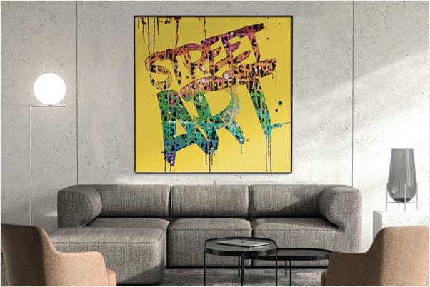 Tableau pochoir graffiti jaune