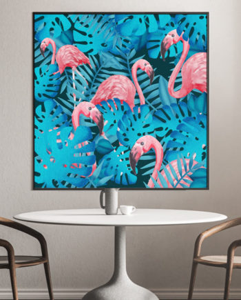 Flamingo & Blues – Tableau jungle exotique
