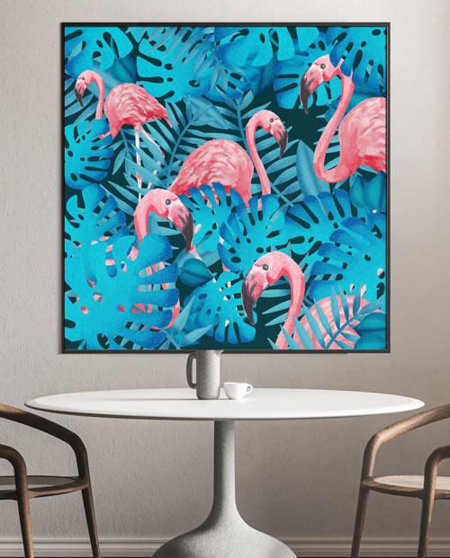 Tableau flamingo dans jungle exotique parfait pour une déco tropicale chic